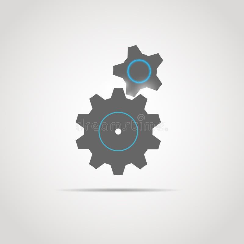 Kugghjulsymbol med två kugghjul royaltyfri illustrationer