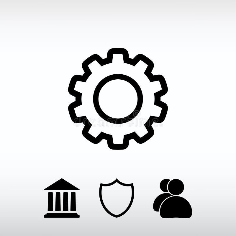 Kugghjulsymbol, vektorillustration Sänka designstil arkivfoto
