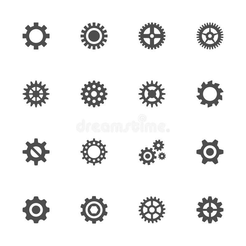 Kugghjulsymbolsuppsättning royaltyfri illustrationer