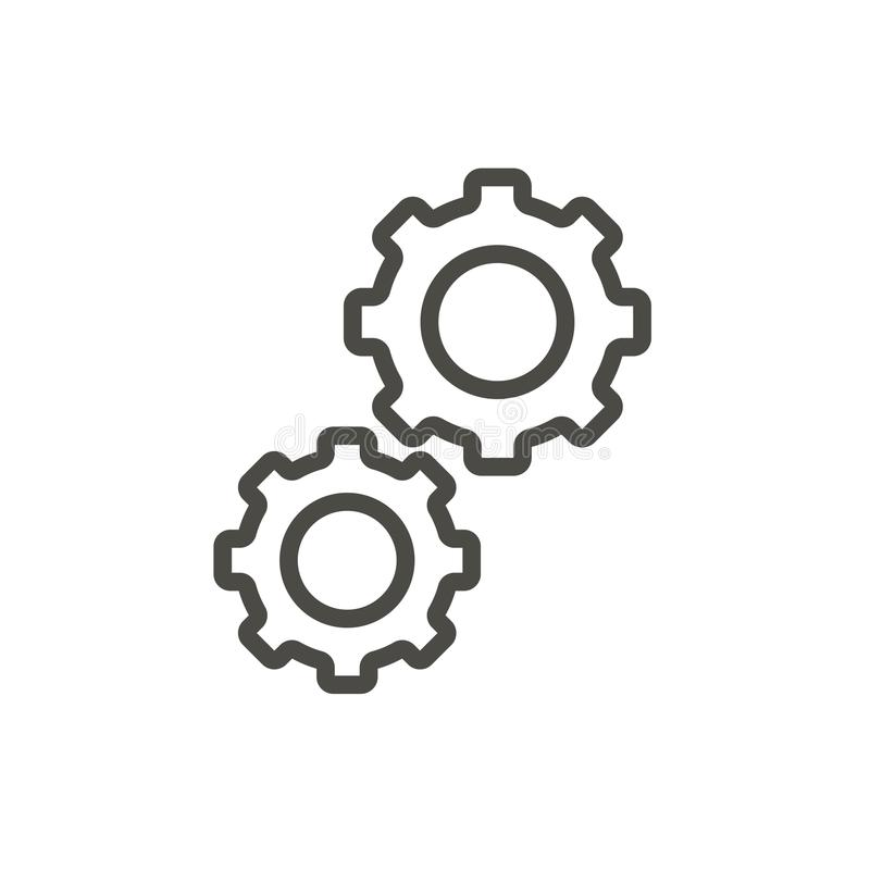Kugghjulsymbolsvektor Översiktsframsteg, linje kugghjulsymbol stock illustrationer