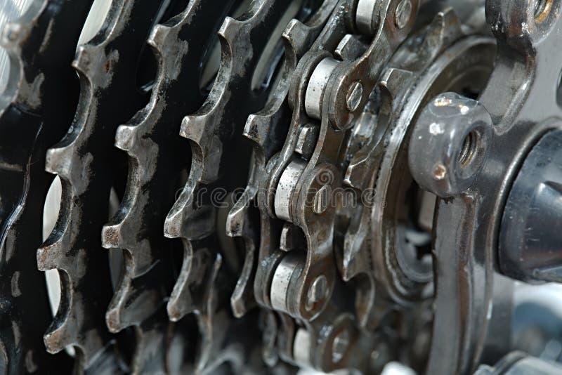Kugghjuluppsättning av en cykel royaltyfria bilder