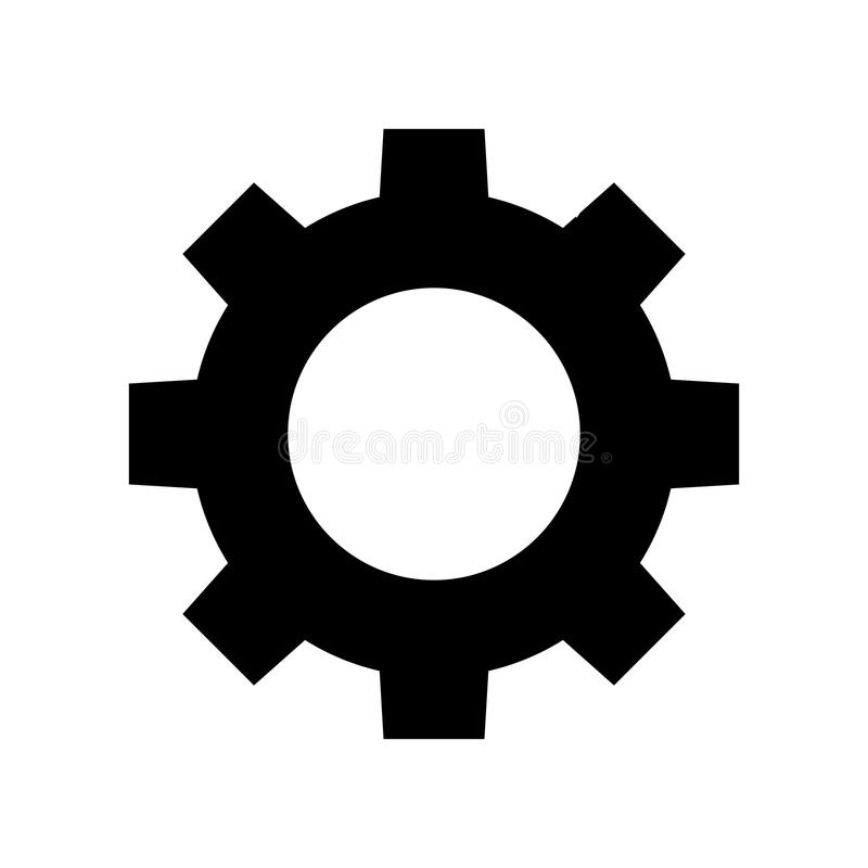 Kugghjulvektorsymbol royaltyfri illustrationer