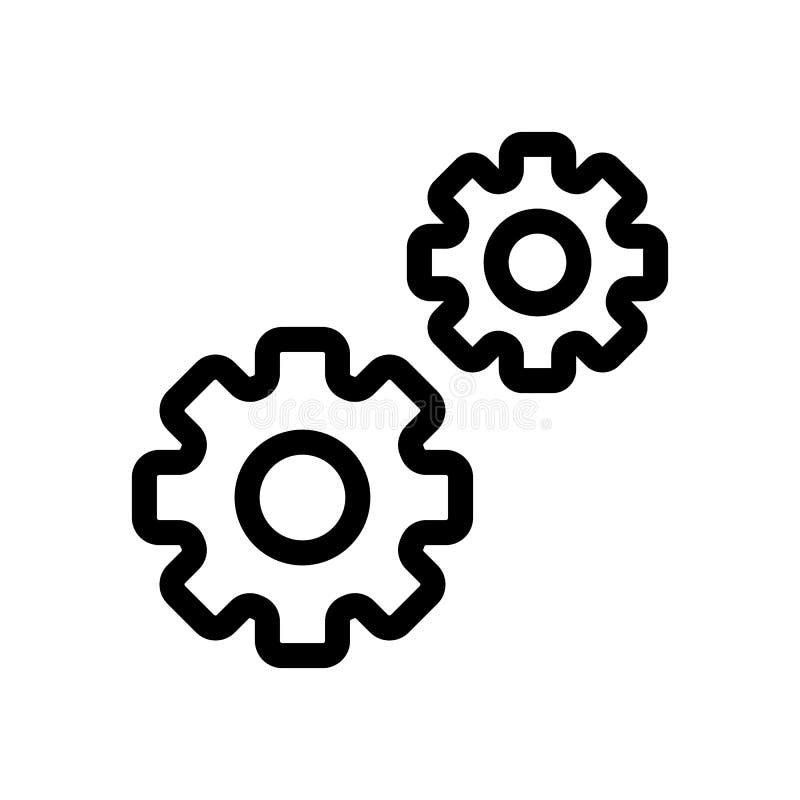 Kugghjulvektorsymbol illustration för två kugghjul Linjär symbol för översikt vektor illustrationer