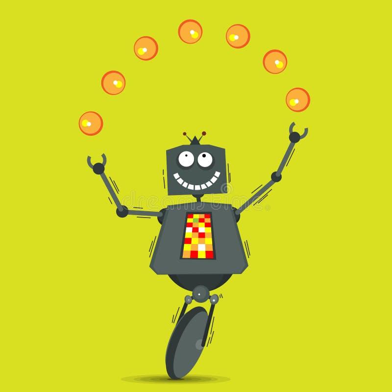 Download Kuglarski robot ilustracja wektor. Obraz złożonej z dzbanki - 30736893