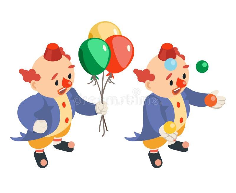 Kuglarskiej śmiesznej występów balonów isometric cyrkowej partyjnej zabawy juggler błazenu charakteru karnawałowa ikona odizolowy ilustracji