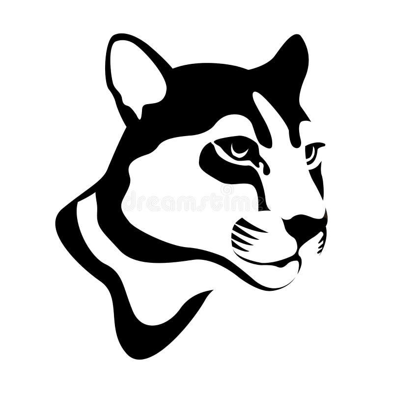 Kuguara halnego lwa głowy wektoru czerń royalty ilustracja
