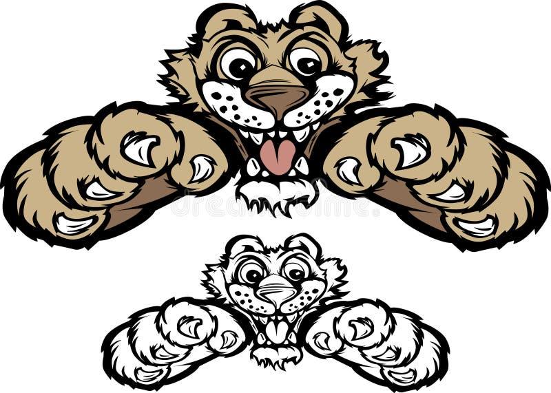 kuguara lisiątka loga maskotki pantera ilustracja wektor
