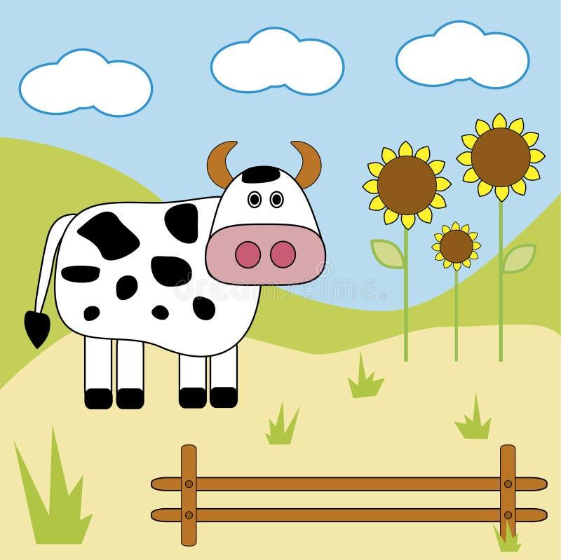 Kuh auf einem Bauernhof lizenzfreie abbildung