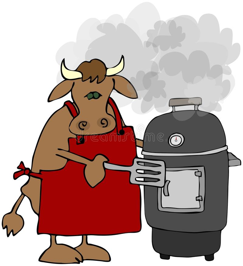 Kuh, die auf einem Raucher-Grill kocht lizenzfreie abbildung