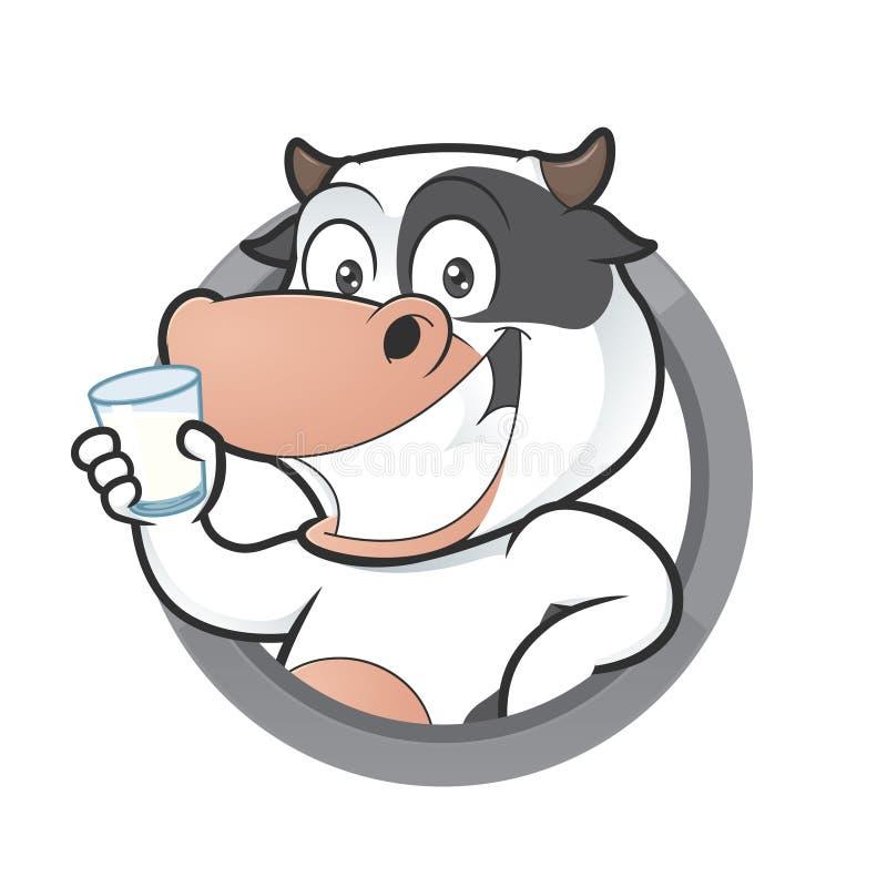 Kuh mit Glas Milch im runden Rahmen stock abbildung