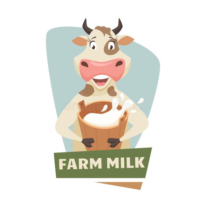 Kuh mit Milch lizenzfreie abbildung