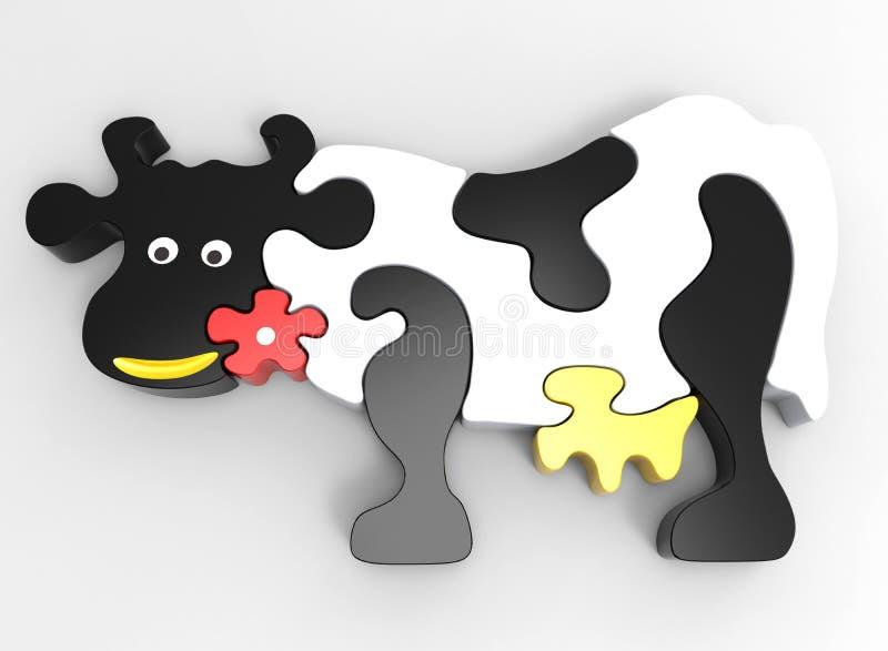 Kuh-Puzzlespiel lizenzfreie abbildung