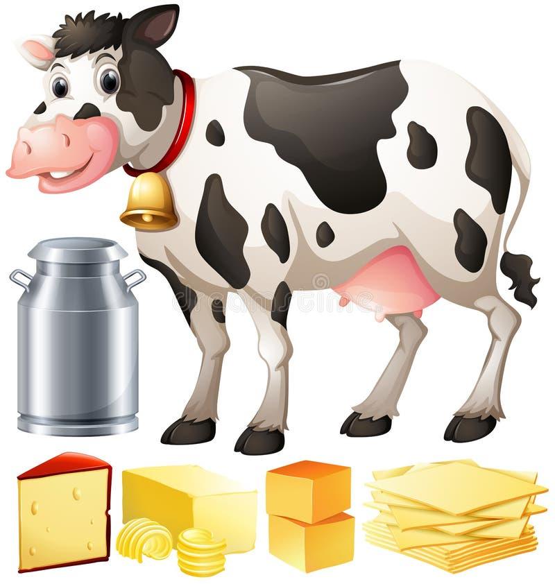 Kuh und andere Molkerei-produtcs lizenzfreie abbildung