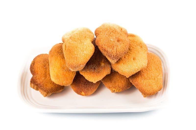 Kuih bahulu,一个普遍的传统马来的甜海绵小圆面包 库存图片