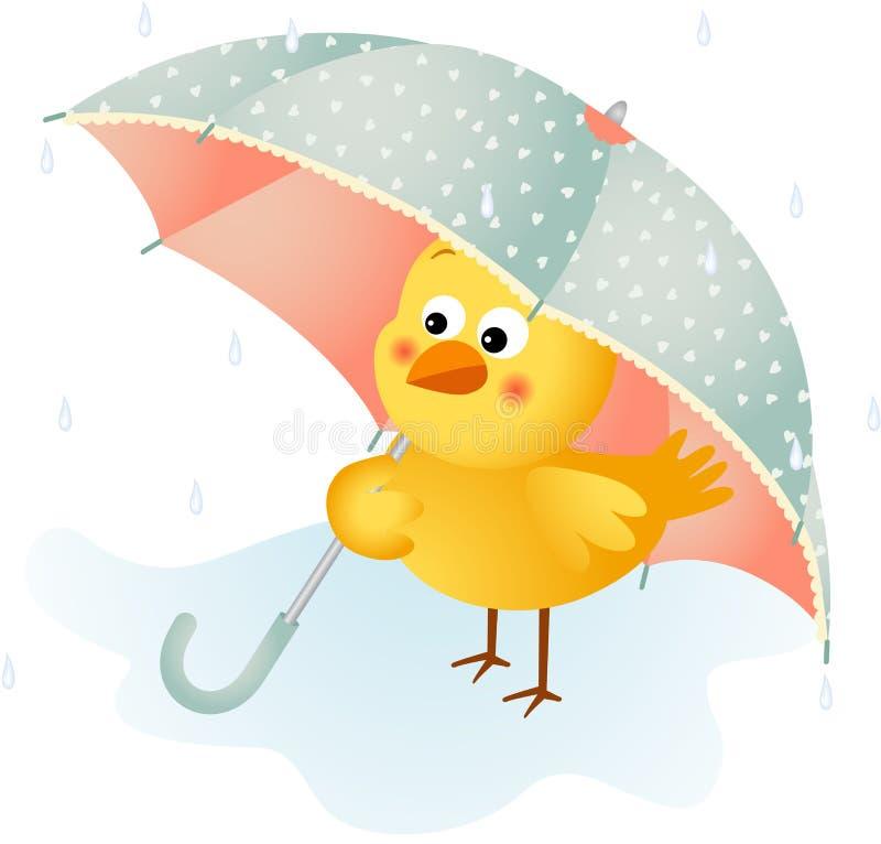 Kuiken in de regen met paraplu vector illustratie