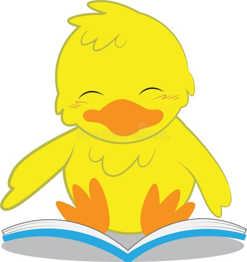 Kuiken die een boek lezen stock illustratie