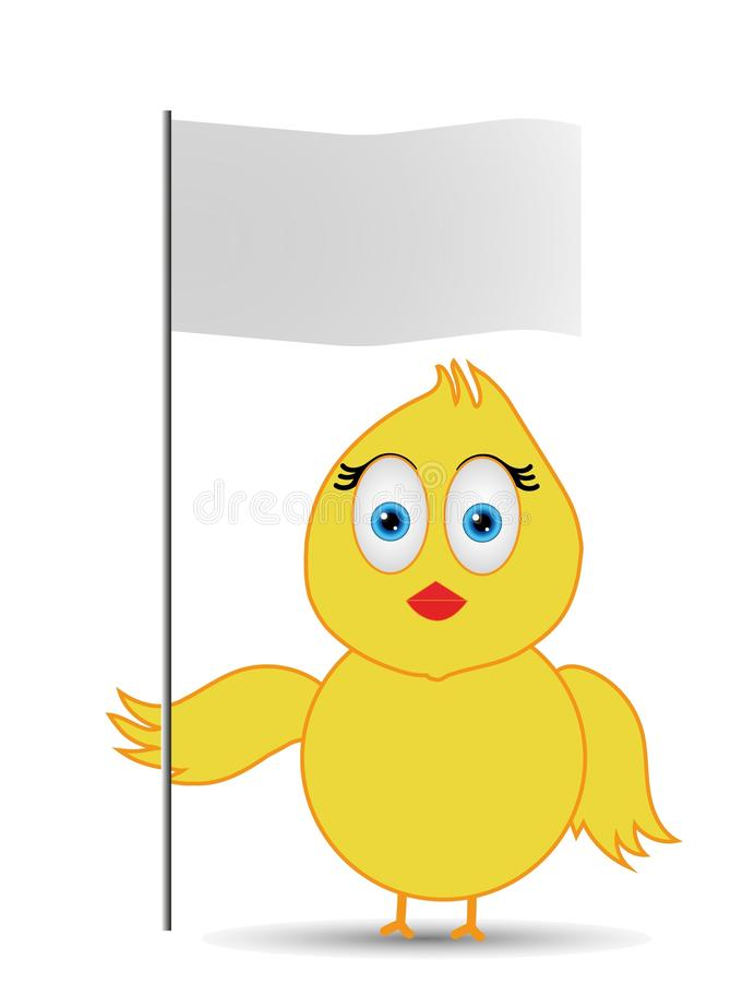 Kuiken die lege vlag houden vector illustratie