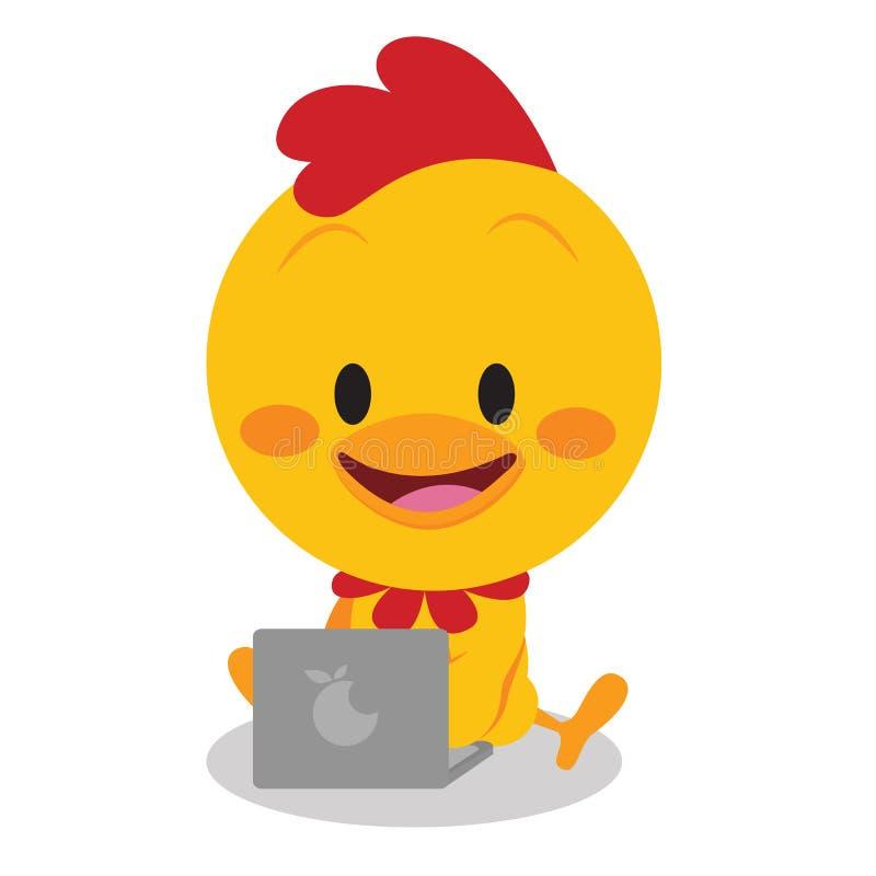 Kuiken met laptop vectorart. royalty-vrije illustratie