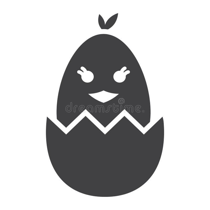 Kuiken van een ei glyph pictogram wordt uitgebroed, Pasen die vector illustratie