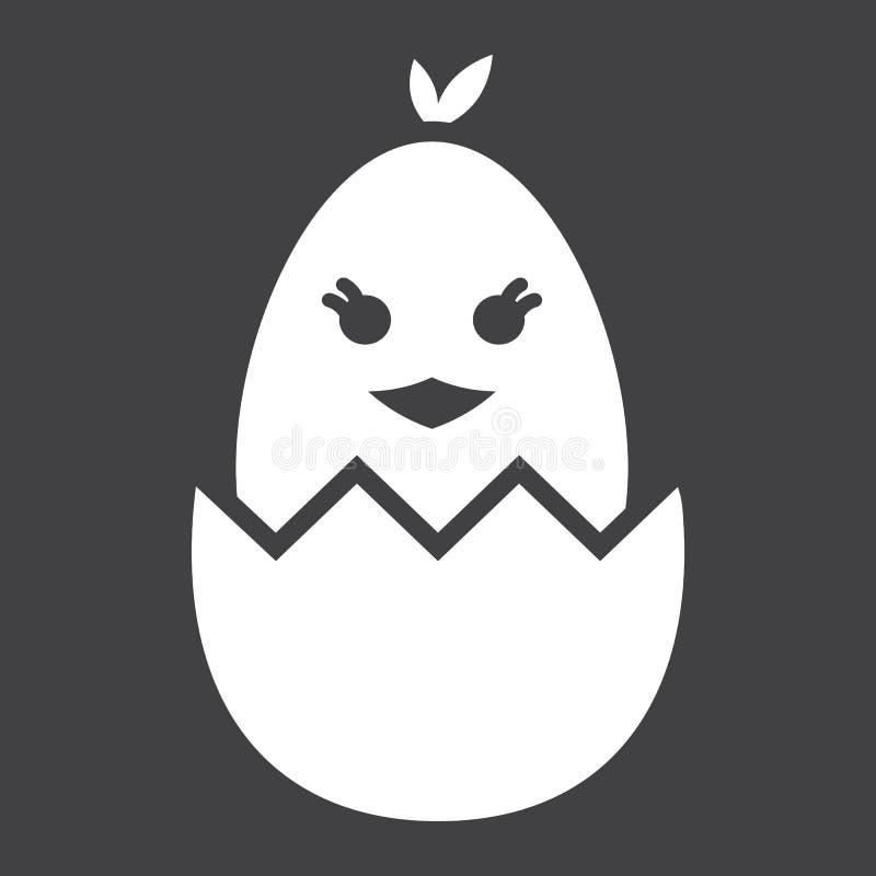 Kuiken van een ei glyph pictogram wordt uitgebroed, Pasen die stock illustratie