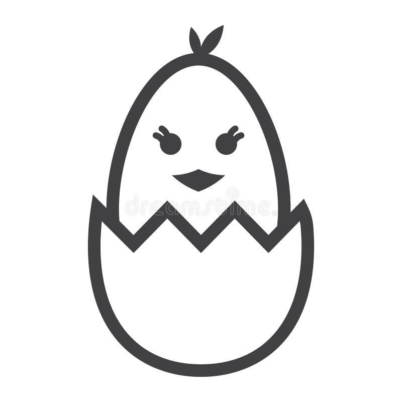 Kuiken van een pictogram van de eilijn, Pasen wordt uitgebroed die royalty-vrije illustratie
