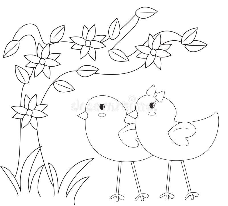 Kuikens in de tuin kleurende pagina stock illustratie