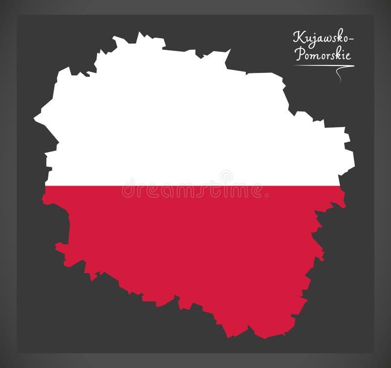 Kujawsko - Pomorskie map of Poland with Polish national flag ill. Kujawsko - Pomorskie map of Poland with Polish national flag vector illustration
