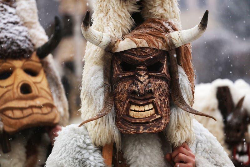 Kuker-Festival Breznik, Bulgarien, Festival der Maskerade-Spiele stockbilder