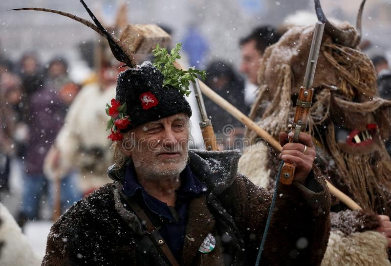 Kuker-Festival Breznik, Bulgarien, Festival der Maskerade-Spiele lizenzfreie stockfotografie