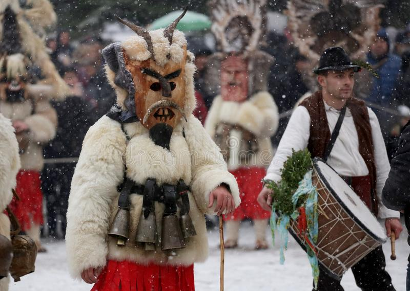 Kuker-Festival Breznik, Bulgarien, Festival der Maskerade-Spiele stockfoto