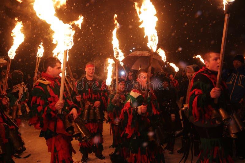 Kuker-Festival Breznik, Bulgarien, Festival der Maskerade-Spiele lizenzfreies stockbild