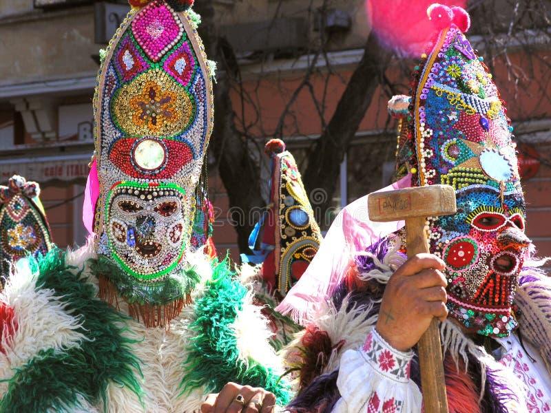 Kukeri karnaval em Bulgária fotografia de stock royalty free