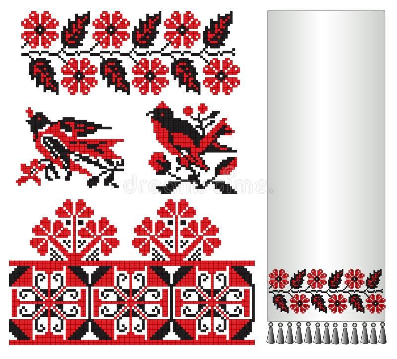 kukułka haftuje dymówki ukrainian royalty ilustracja