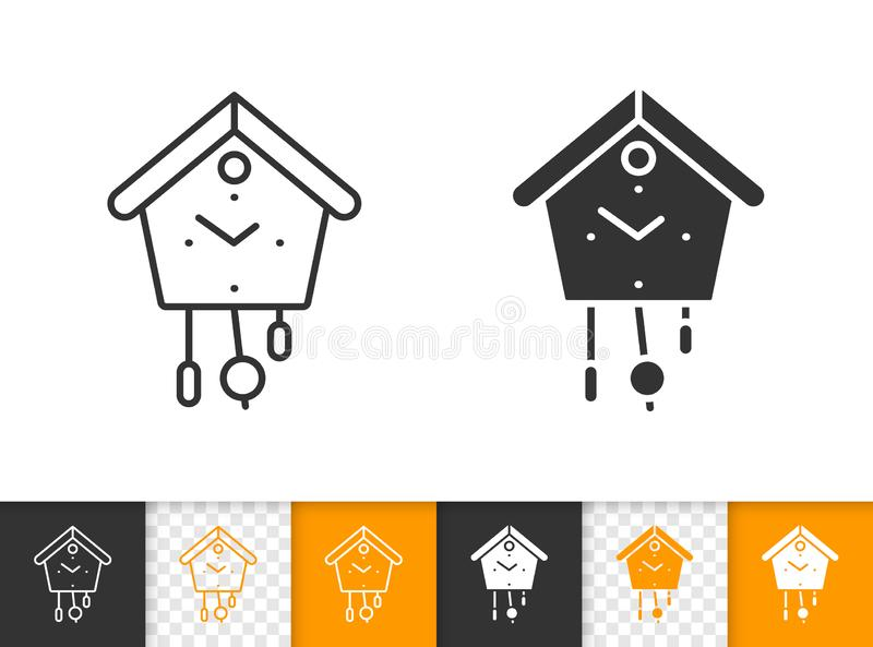 Kukułka zegaru czerni linii wektoru prosta ikona ilustracji
