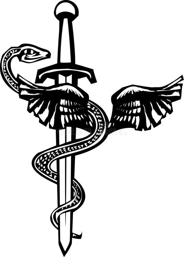 Kukulcan e espada ilustração royalty free