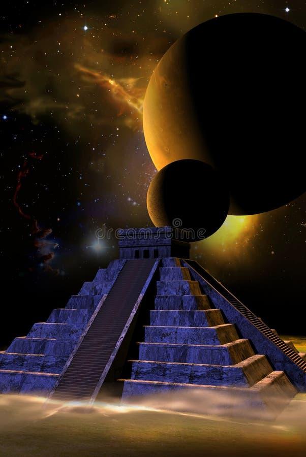 Kukulkan pyramid and planets royalty free illustration