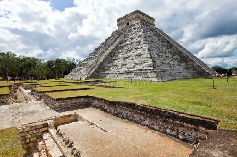 Kukulkanpiramide in Chichen Itza op Yucatan, Mexico royalty-vrije stock afbeeldingen
