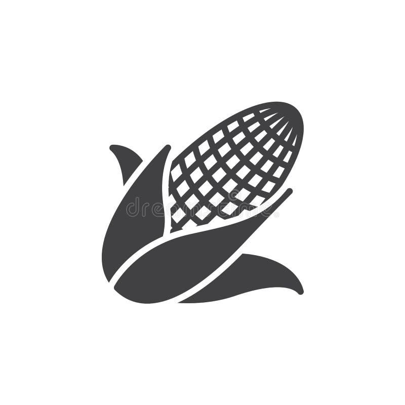 Kukurydza, Kukurydzany ikona wektor, wypełniający mieszkanie znak, stały piktogram odizolowywający na bielu royalty ilustracja