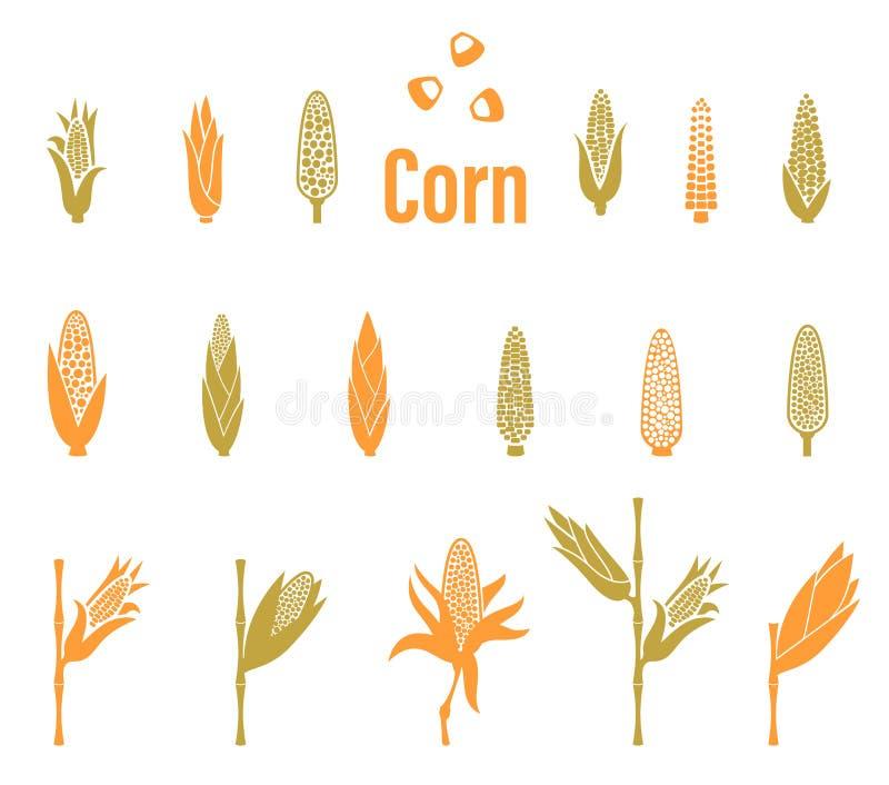 Kukurydzane ikony Rolnictwo loga szablon royalty ilustracja