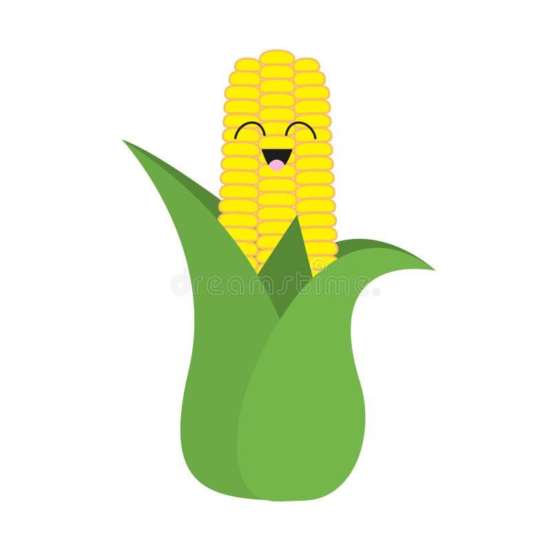 Kukurydzanego cob ucho z liść ikoną Żółty kolor Jarzynowa kolekcja Świeży rolny zdrowy jedzenie uśmiechnięta twarz Śliczny postać ilustracja wektor