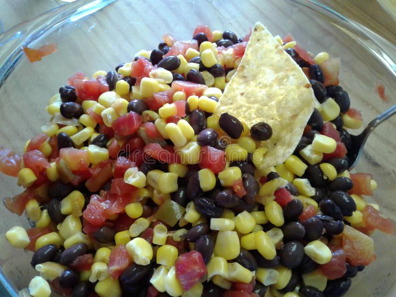 Kukurydzanej i czarnej fasoli salsa obraz stock