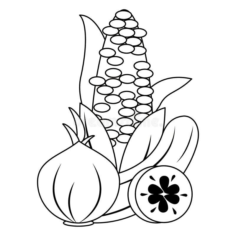 Kukurydzany czosnek i og?rkowi ?wiezi warzywa ilustracja wektor
