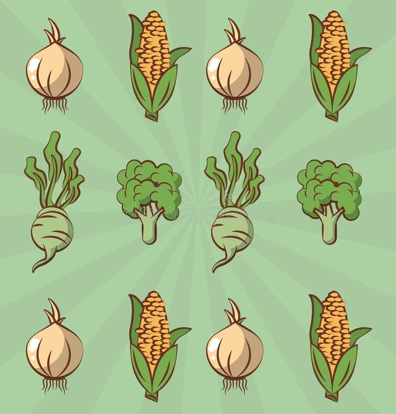 Kukurydzany czosnek i rzodkiew royalty ilustracja