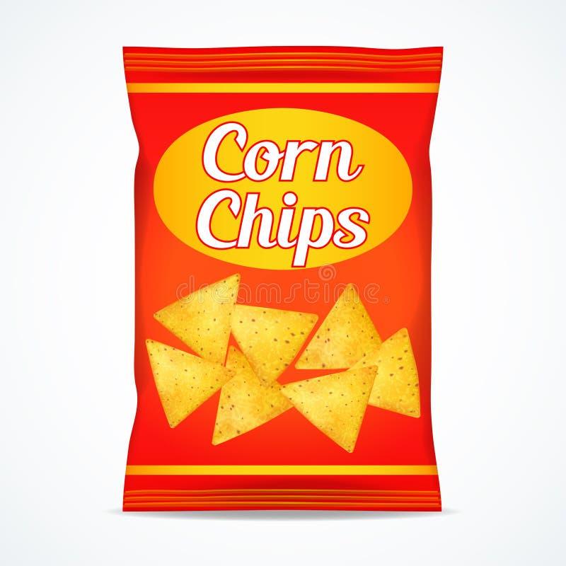 Kukurydzanych układów scalonych paczki torba, odosobniona na białym tle zdjęcia stock