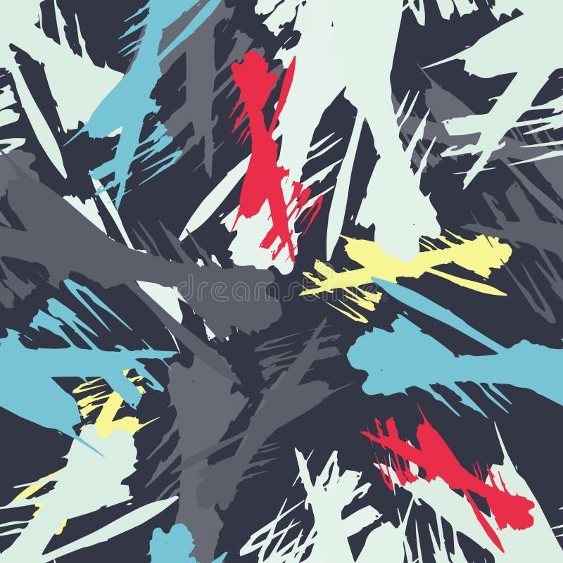 Kulör abstrakt sömlös modell i grafittistil kvalitets- vektorillustration för din design royaltyfri illustrationer