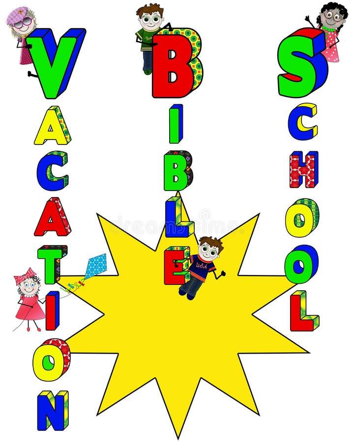 Kulör affisch för semesterbibelskola ljust med ungar och stor Sunburst för gul text vektor illustrationer