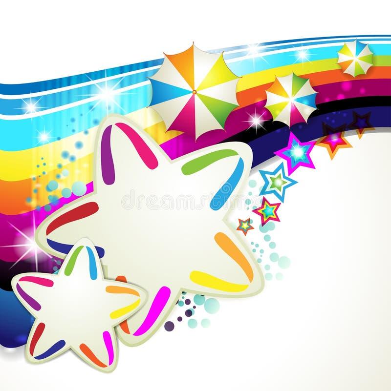 Kulör bakgrund med stjärnor royaltyfri illustrationer