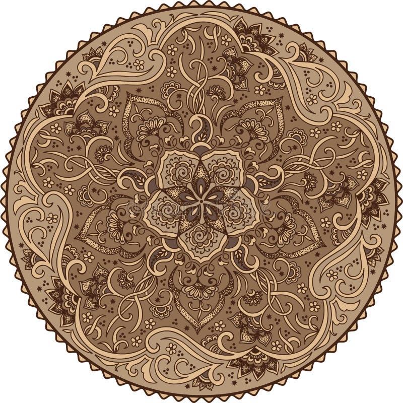 Kulör blom- prydnad för Zentangle runda Snör åt den dekorativa rundan för vektorn med arabesquebeståndsdelar Mehndi stil stock illustrationer