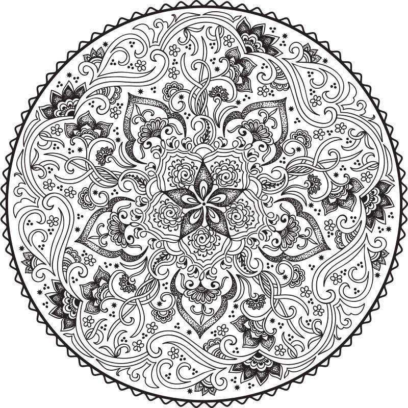 Kulör blom- prydnad för Zentangle runda Snör åt den dekorativa rundan för vektorn med arabesquebeståndsdelar Mehndi stil vektor illustrationer