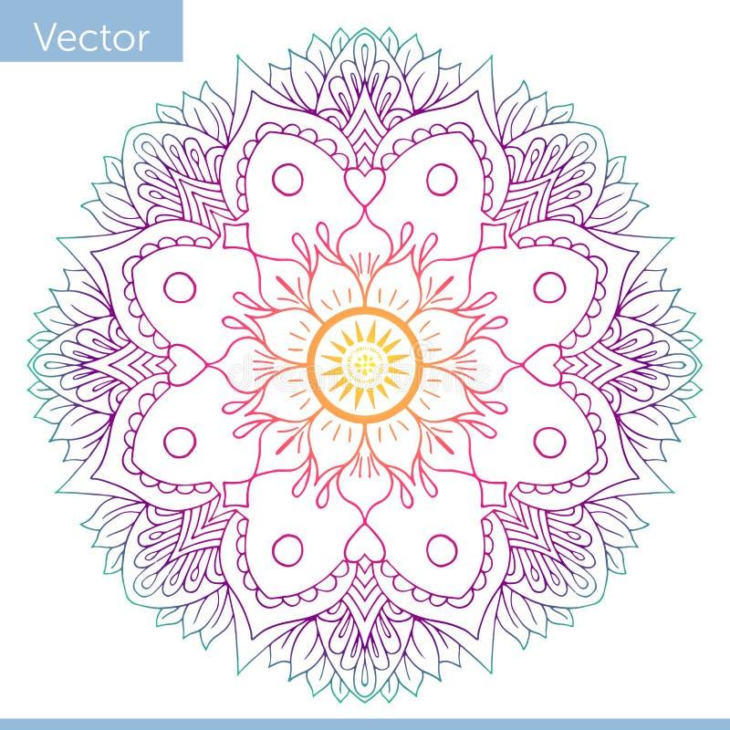 Kulör dekorativ Mandala Österlänningen mönstrar royaltyfri illustrationer